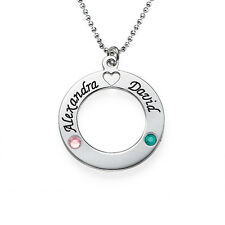Sterling Silver Name Circle with Birthstones