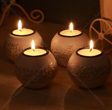 NEW Antiqued Engraved Resin Glass Candle Holder silver painted tea light Wedding