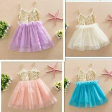 Baby Girls Kids Sequins Summer Wedding Party Dresses Tulle Tutu Sundress 0-3T