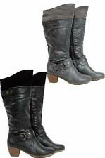 WOMENS LADIES KNEE HIGH FAUX LEATHER MID CALF BLOCK HEEL ZIP LONG BOOTS SHOES