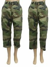 Genuine French Army F2 Issued Vintage Ladies Cropped Camouflage Trousers Pants