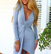 Women Sexy Deep V-Neck Split Long Sleeve Long Maxi Dress Party Cocktail Clothes