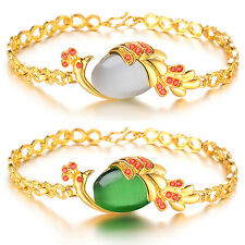 Women New Fashion Retro 18K Yellow Gold Plated Crystal Peacock Bracelet Jewelry