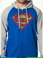 NWT DC COMICS SUPERMAN DISTRESSED ZIP UP HOODIE SWEATSHIRT MEN'S SIZE S - 2XL