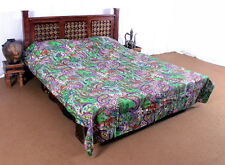 Handmade Paisely Indian Quilt Blanket Kantha Bedspread Throw Cotton Ralli Gudri