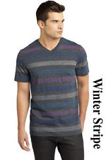 CLEARANCED PRICED Young Mens Reverse Striped V-Neck Tee Men's Stripe Tee