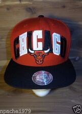 NBA Chicago Bulls Mitchell and Ness Red/Black Snapback Cap Hat VG+ Free Ship
