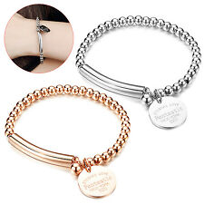 Women Fashion Jewelry Simple Smooth Round Ball Beads Charm Bracelet Bangle Gift