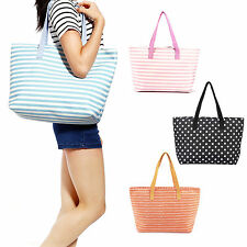 Stripes Print Designer Canvas Shoulder Bag Tote Shopper Handbag Summer Beach Bag