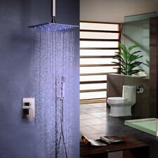 Modern Brushed Nickel Bath System LED Ceiling Mount Rain Shower & Handshower Set