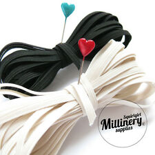 5mm 6 Cord Black or Ivory Flat Elastic (5m) for Millinery & Crafts