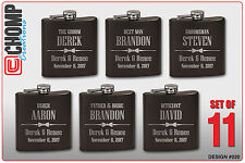 11 Personalized Engraved Flasks, Groomsman Gifts, Wedding Bridesmaid Party