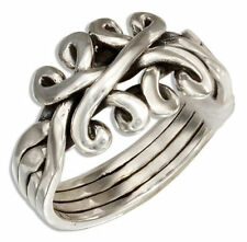 Women's 925 Solid Sterling Silver Celtic Knot Four Band Puzzle Ring Sizes 6 - 10