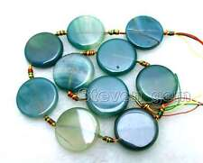 """SALE Big 28mm Round Coin Natural Green Striped Agate Loose Beads strand 15""""-l663"""