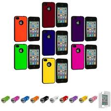 For iPhone 4 4S TPU Bumper Hybrid Hard Case Cover+Car Charger+LCD