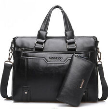 Vintage Leather Mens Business Briefcase Handbag Messenger Laptop Bag Wallet GIFT