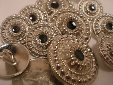 New lots silver metal buttons black center sizes 1 1/8, 7/8 13/16, 5/8 7/16, S36