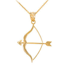 Polished 10k Yellow Gold Aim Bow and Arrow Goals Pendant Necklace