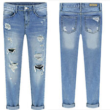 Sexy Women Denim Skinny Pants Stretch Jeans Slim Pencil High Waist Hole Trousers