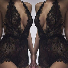 Sexy Lingerie Lace Floral Sheer Dress Bralette Underwear Nightwear Sleepwear