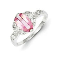 Sterling Silver Pear Shaped Pink & Clear CZ Ring 6.36 gr Size 6 to 8