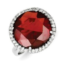 Sterling Silver Round Cut Red & Clear CZ Cocktail Ring 5.85 gr Size 7 to 9