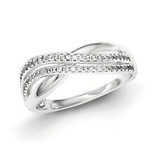 Sterling Silver Twin Row Twisted Design Clear CZ Ring 2.52 gr Size 6 to 8