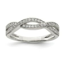 Sterling Silver Twisted Clear CZ Ring 2.39 gr Size 6 to 8