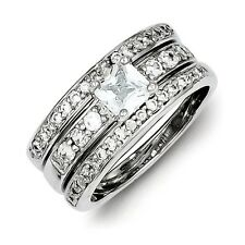 Sterling Silver 3 Ring Princess Cut Clear CZ Wedding Set 6.47 gr Size 6 to 8