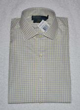 POLO RALPH LAUREN WHITE YELLOW BLUE CHECK SPREAD COLLAR DRESS SHIRT NWT