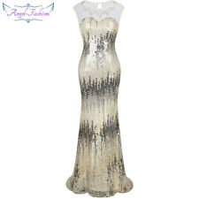 Angel-fashions Sheer Beading Mermaid Long Evening Dress Gatsby Party Dress 206