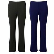 2 PAIR PACK WOMENS LADIES BLACK NAVY STRETCH RIBBED BOOTLEG WORK CARERS TROUSERS
