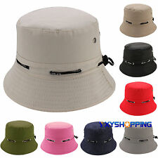 Men Women Unisex Adjustable Cotton Bucket Hat Fishing Camping Sun Visor Cap New