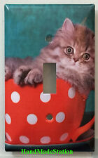 Puppy Selkirk Rex Cat in the Cup Light Switch & Power Duplex Outlet Cover Plate