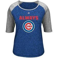 NWT CHICAGO CUBS WOMENS XL ALWAYS CRAZY FOR SCOOP NECK BLUE & STEEL GRAY T SHIRT