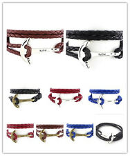 New Leather Men Bracelet Jewelry Anchor Bracelet Wristband Charm 40cm Bracelet