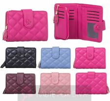 LADIES TASSEL QUILTED TRIFOLD PICTURE ID CARD HOLDERS FAUX LEATHER WALLET