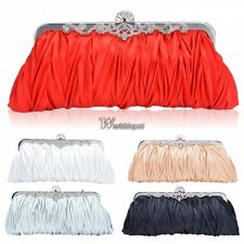 en Satin Pleated Wedding Bridal Evening Party Club Clutch Purse Bag Handbag WT88