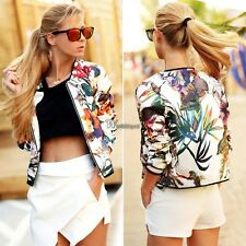 Autumn Women Long Sleeve O Neck Slim Floral Jacket Coat Blouse Top Outwear WT88