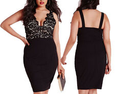 Plus Sz Lace Sleeveless V Neck Sexy Midi Slim Bodycon Formal Party Evening Dress