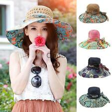 New Floppy Sun Hat Women's Summer Bow Straw Hats Beach Cap Floral Wide Brim
