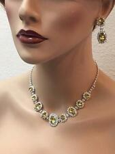 Champagne Crystal Necklace & Earring Fashion Jewelry Set