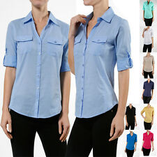 Women Casual Roll Up Sleeve Career Fitted Slim Button Down Blouse Shirt Cotton
