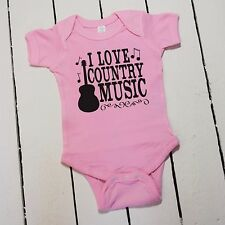 I LOVE COUNTRY MUSIC CUTE FUNNY GUITAR PINK BABY GIRL NEWBORN ONE PIECE T SHIRT