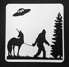 Bigfoot Unicorn UFO Metal Sign 12 inch by 12 inch  Awesome Sign Crypto Sign