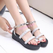 Womens Open Toe Rhinestone Platform Thong Ankle Strap Sandals Summer Chic 2016