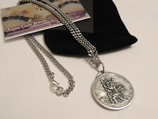 SAINT CHRISTOPER LARGE MEDALLION MEDAL NECKLACE STAINLESS STEEL CHAIN