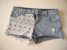 *SAMPLE CLEARANCE $10*GLASSONS BLUE LACE JEANS SHORTS SIZE 6 XS