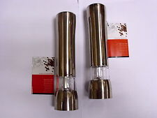 Cole & Mason Electronic Salt and Pepper Mill / Grinder Set Brushed Chrome Finish