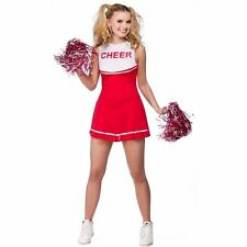 Adults High School Cheerleader Costume Ladies Red Fancy Dress Outfit + POM POMS